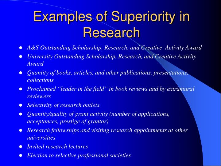 Examples of Superiority in Research