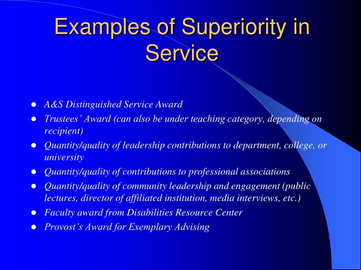 Examples of Superiority in Service