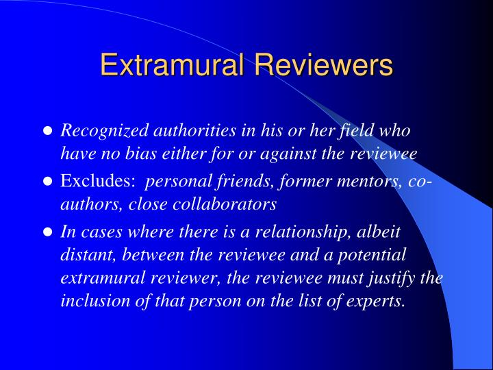 Extramural Reviewers