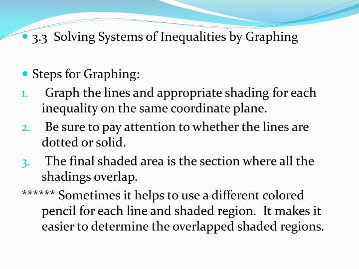 3.3  Solving Systems of Inequalities by Graphing
