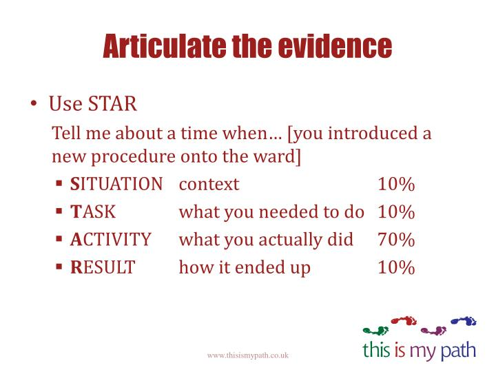 Articulate the evidence