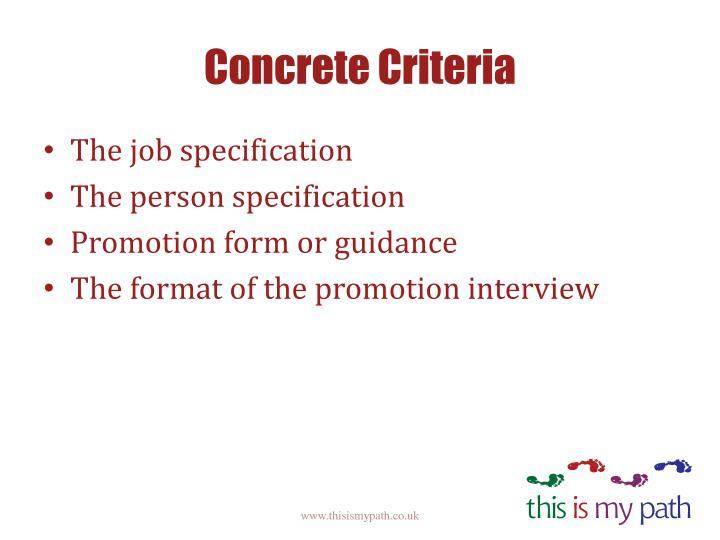 Concrete Criteria