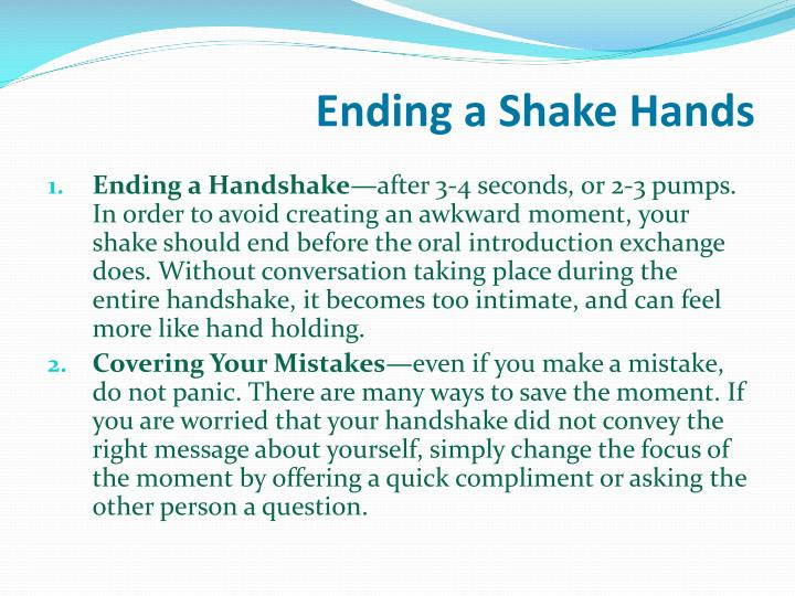 Ending a Shake Hands