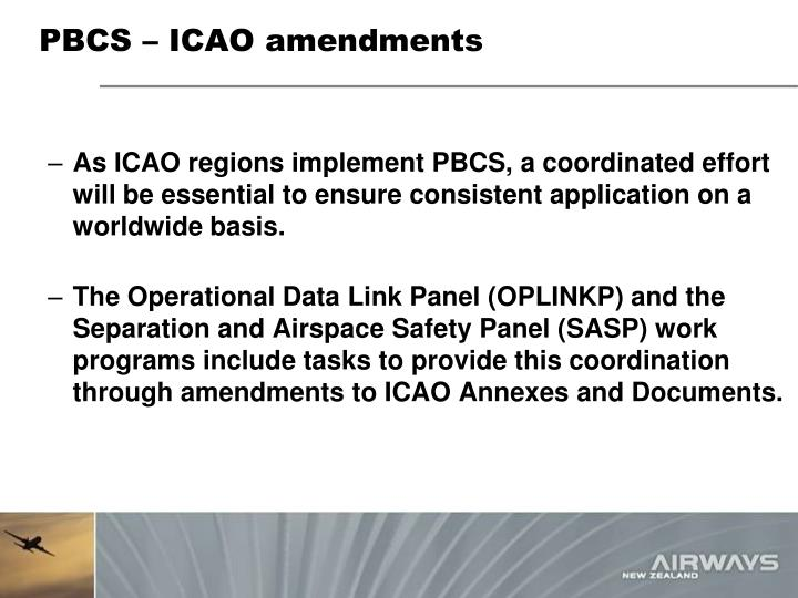 PBCS – ICAO amendments
