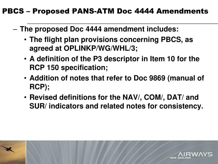 PBCS – Proposed PANS-ATM Doc 4444 Amendments