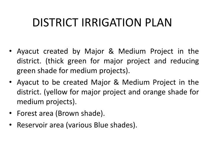 DISTRICT IRRIGATION PLAN