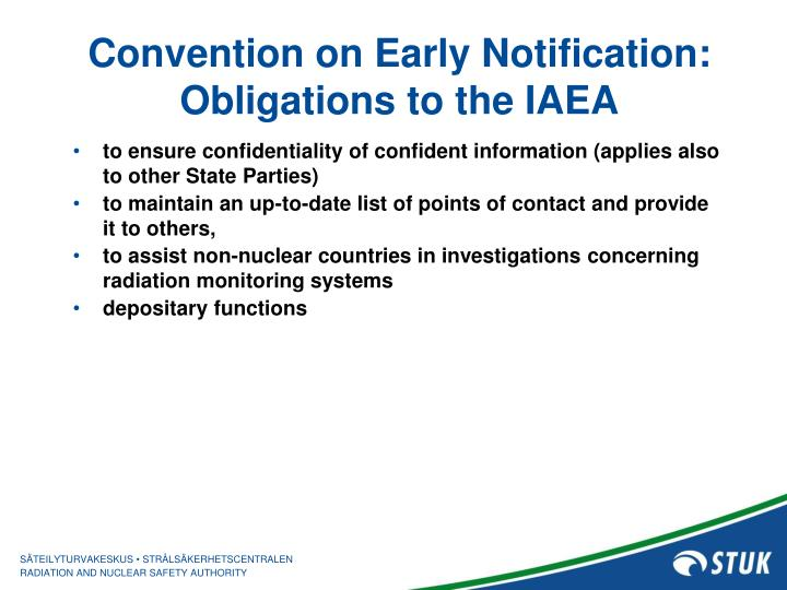 Convention on Early Notification: Obligations to the IAEA