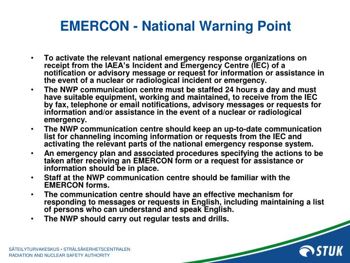 EMERCON - National Warning Point