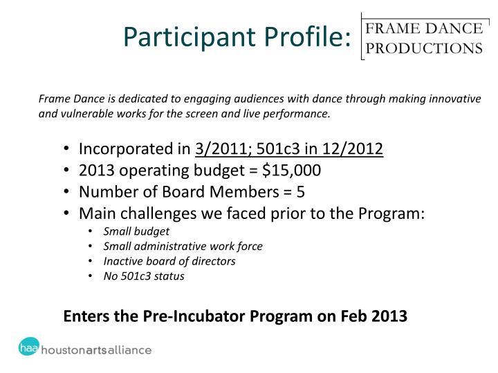 Participant Profile: