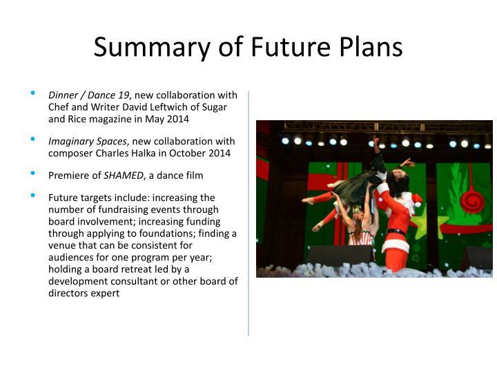 Summary of Future Plans