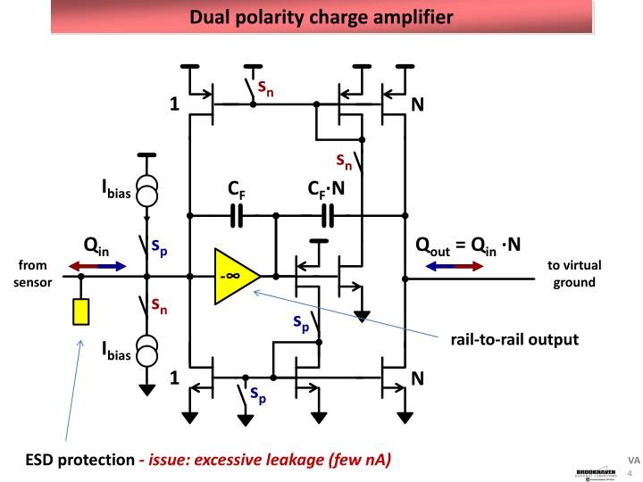 Dual polarity charge amplifier