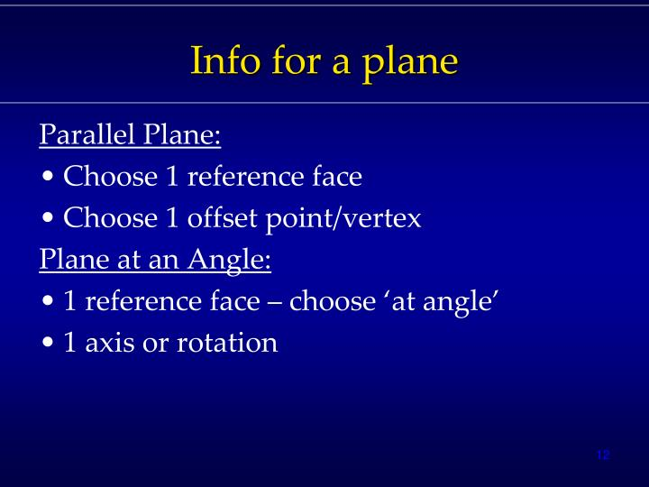 Info for a plane