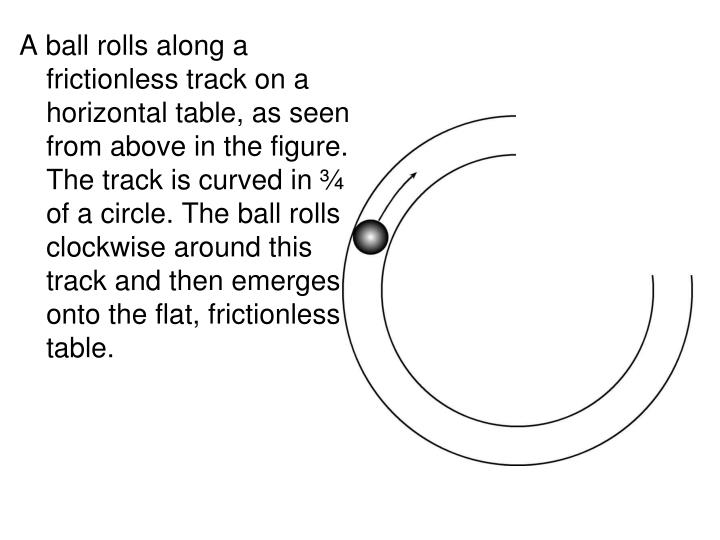 A ball rolls along a frictionless track on a horizontal table, as seen from above in the figure.  The track is curved in ¾ of a circle. The ball rolls clockwise around this track and then emerges onto the flat, frictionless table.