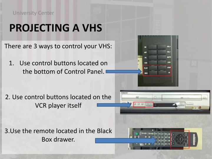 There are 3 ways to control your VHS: