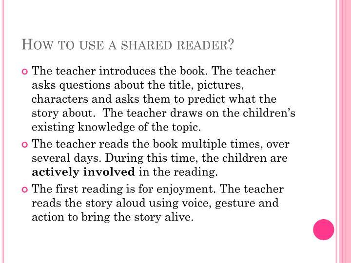 How to use a shared reader?