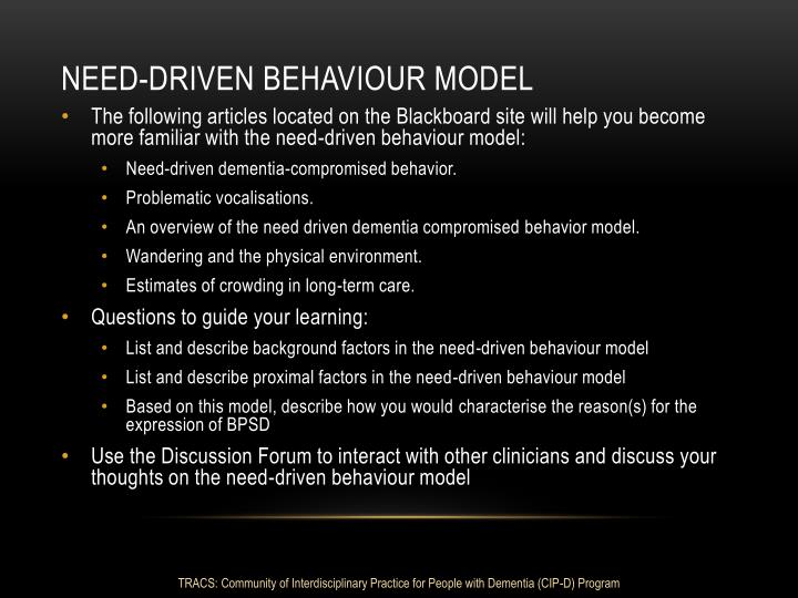 Need-driven Behaviour model