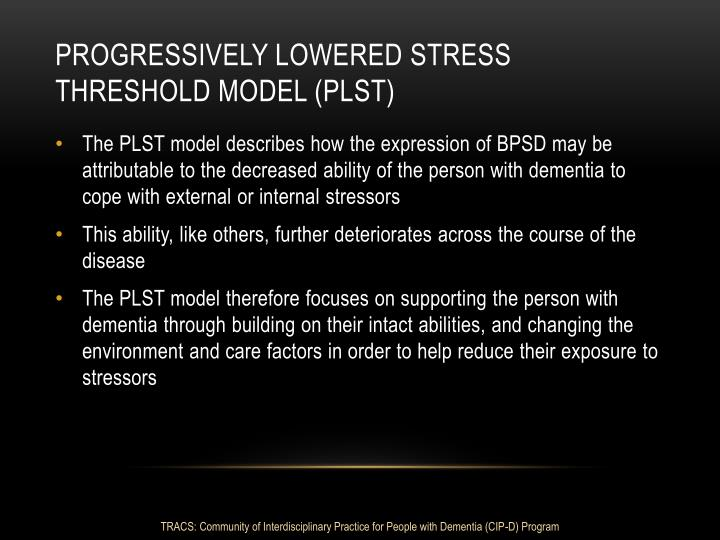 Progressively Lowered Stress Threshold model (PLST)