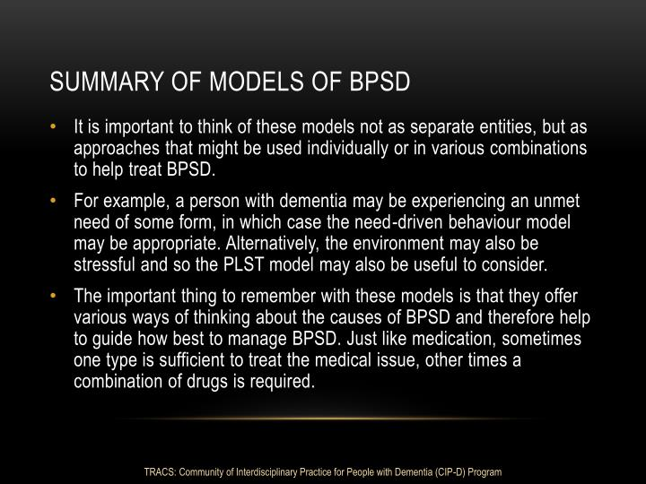 Summary of Models of BPSD