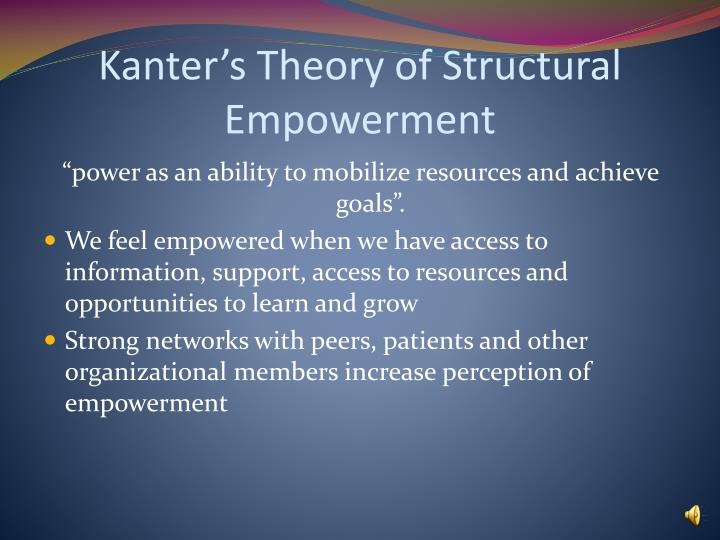 empowerment theory Empowerment is both a value orientation for working in the community and a theoretical model for understanding the process and consequences of efforts to exert control and influence over decisions.