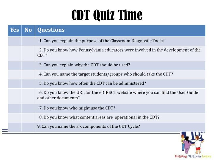 CDT Quiz Time