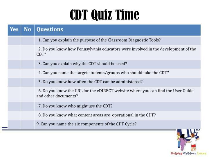 CDT Quiz Time