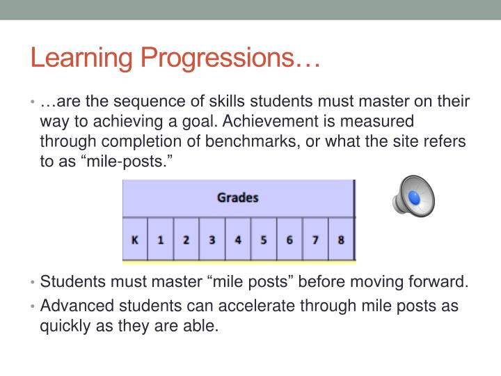 Learning Progressions…