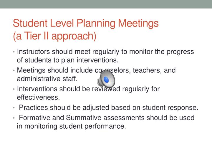 Student Level Planning Meetings