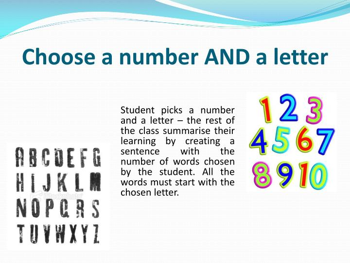 Choose a number AND a letter