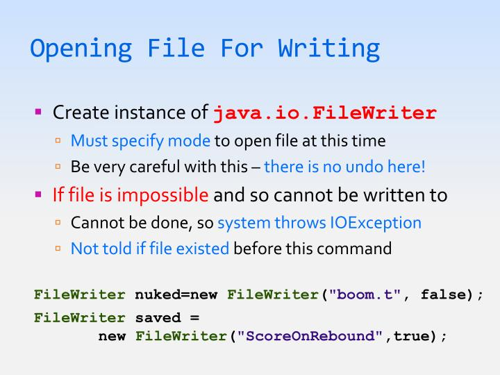 Opening File For Writing