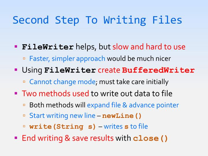 Second Step To Writing Files