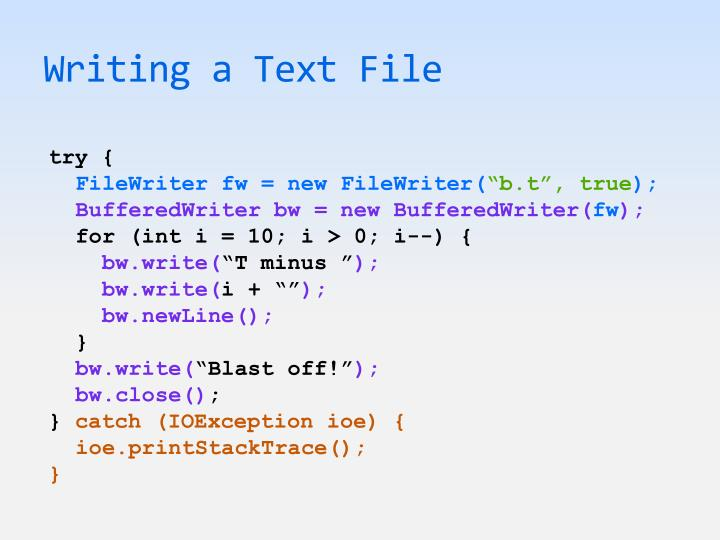 Writing a Text File