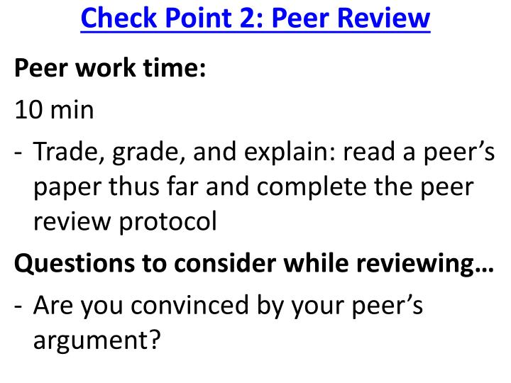 Check Point 2: Peer Review
