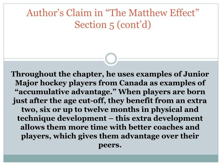 Mathew effect in the first chapter of outliers by malcolm gladwell
