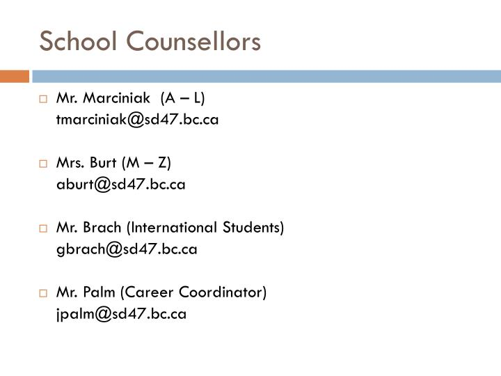School Counsellors