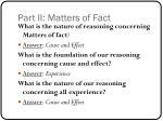 part ii matters of fact