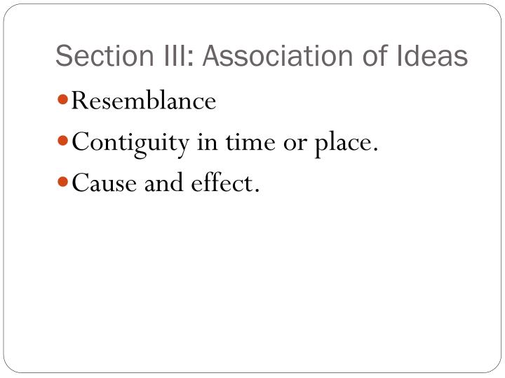 Section III: Association of Ideas