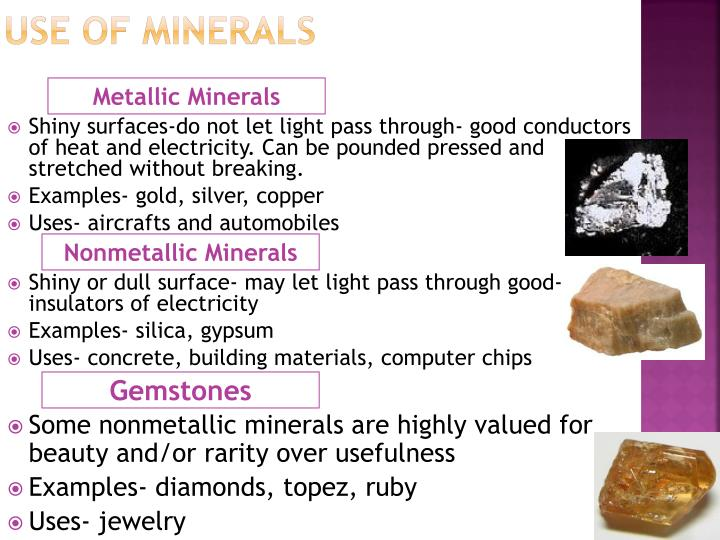 Use of Minerals