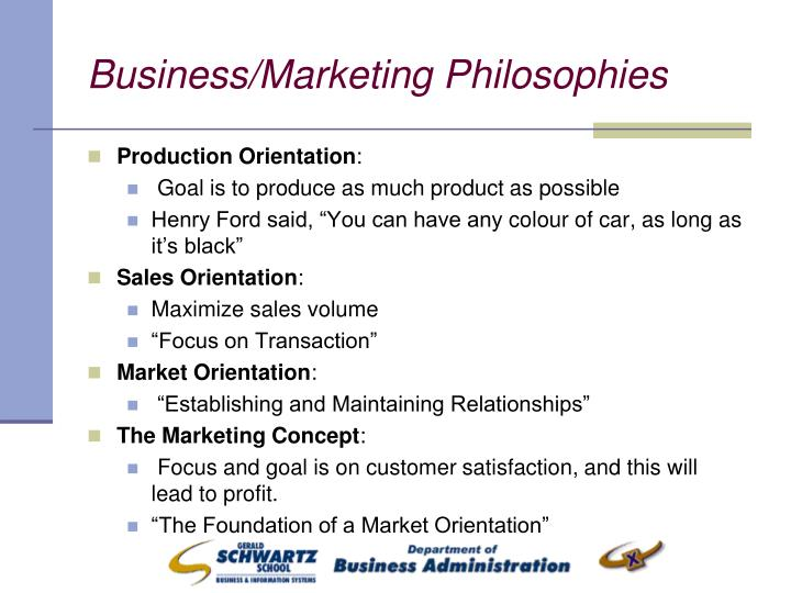 Business/Marketing Philosophies