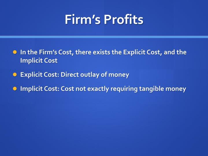 Firm's Profits