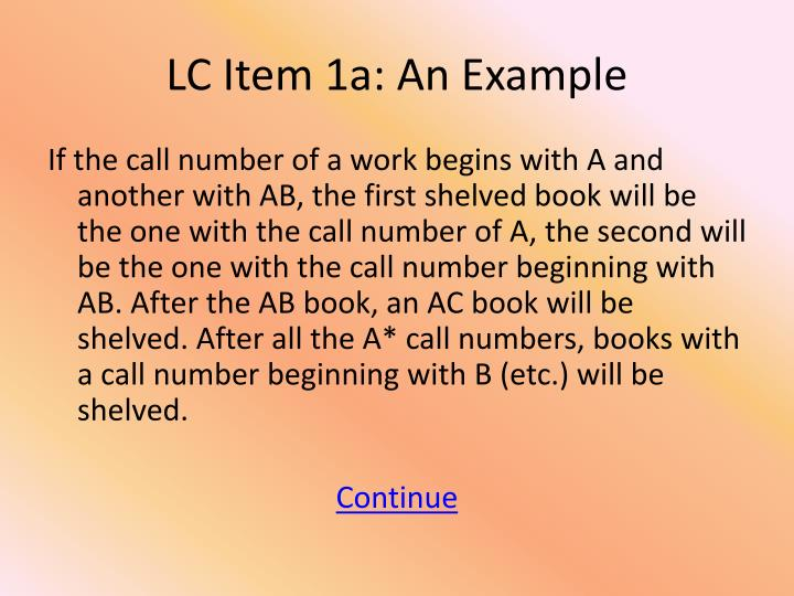 LC Item 1a: An Example