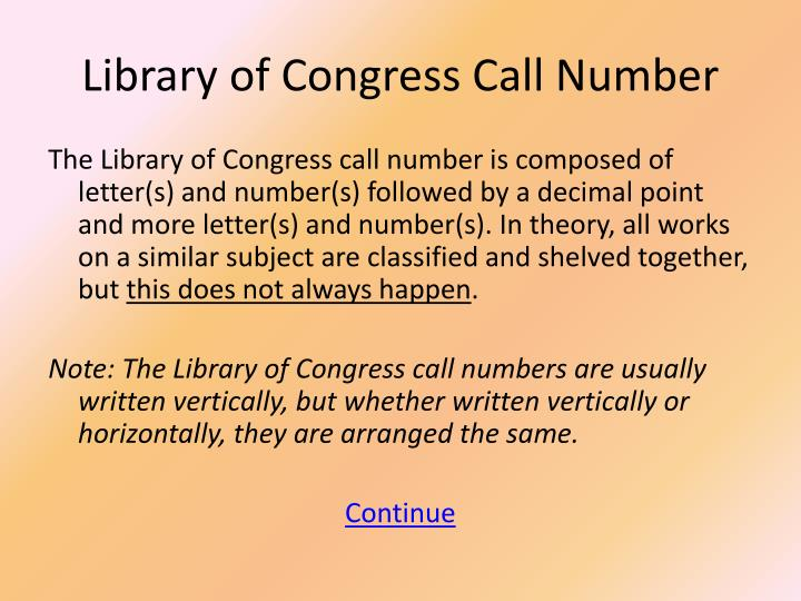 Library of Congress Call Number