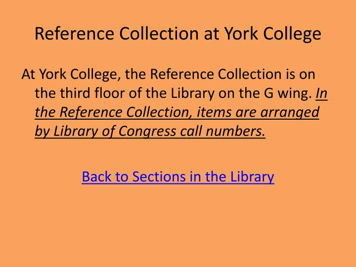 Reference Collection at York College