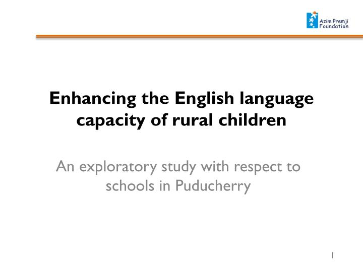 Enhancing the English language capacity of rural children