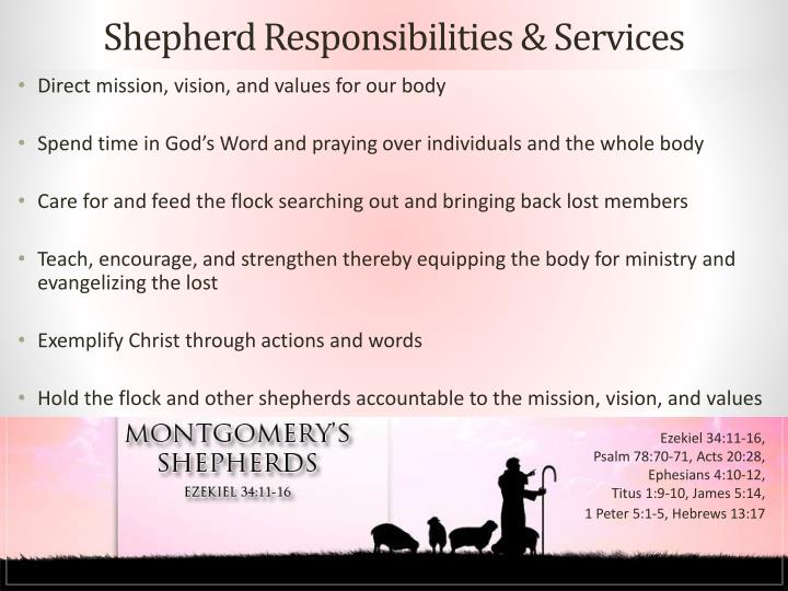 Shepherd Responsibilities & Services