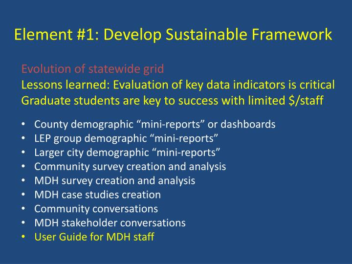 Element #1: Develop Sustainable