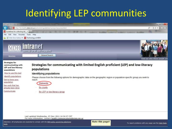 Identifying LEP communities