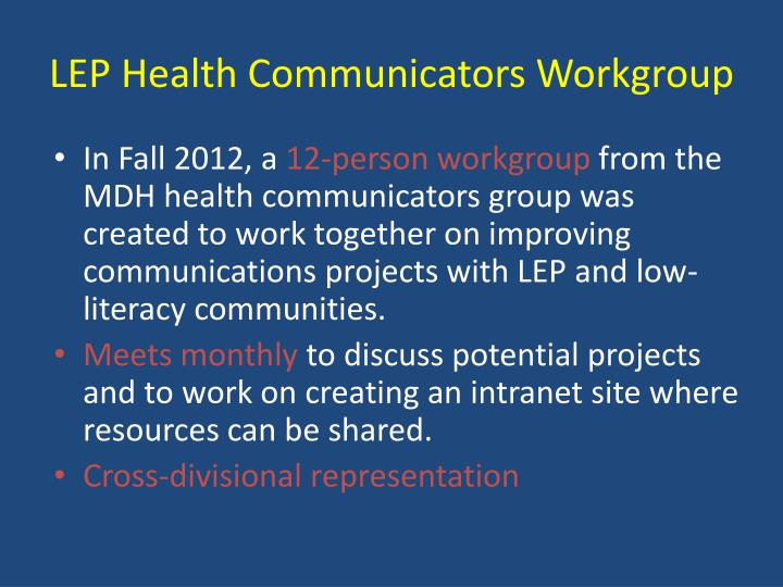 LEP Health Communicators Workgroup