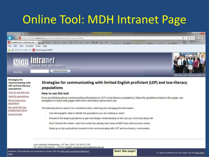 Online Tool: MDH Intranet Page