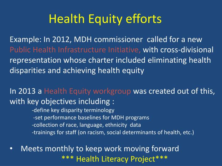 Health Equity efforts