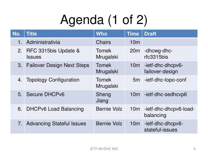 Agenda (1 of 2)